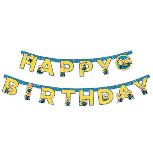 Росмэн 28299 Гирлянда С днем рождения Миньоны 2,3 м miland гирлянда детская с днем рождения для мужчин