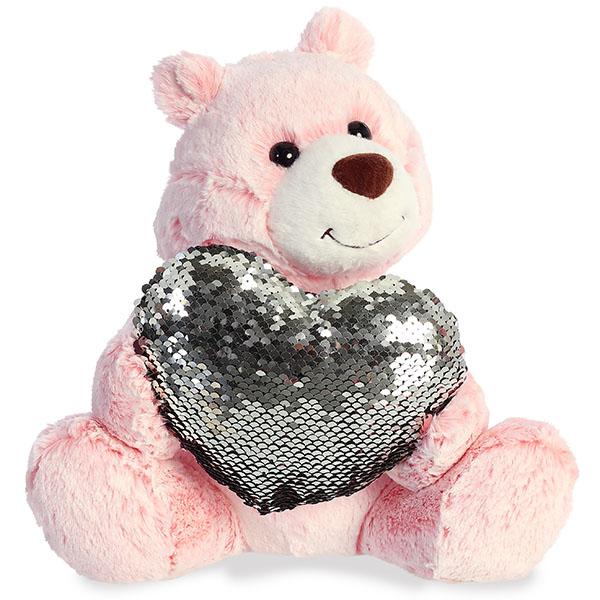 Aurora 190114A Аврора Медведь Большое сердце розовый 30 см.