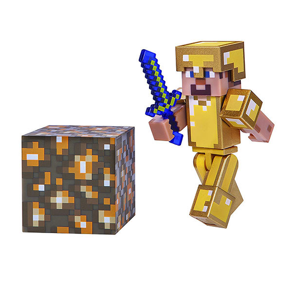 Minecraft 16488 Майнкрафт фигурка Steve in Gold Armor bandai фигурка minecraft mine charact box zombie 4 см