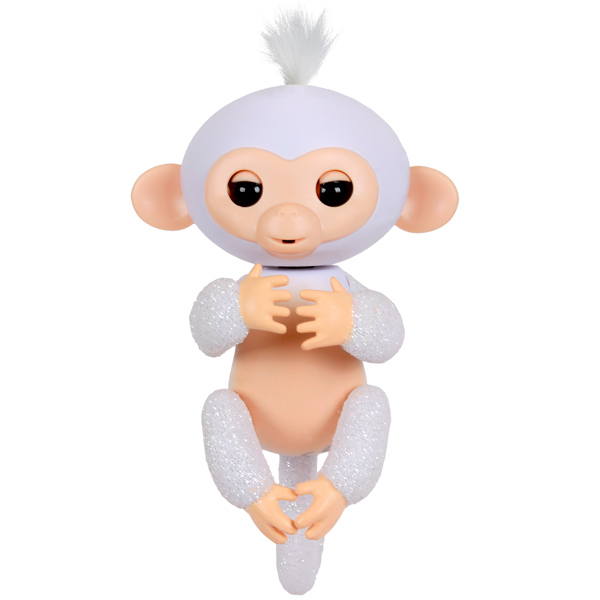 FINGERLINGS 3763M Интерактивная обезьянка ШУГАР (белая),12 см