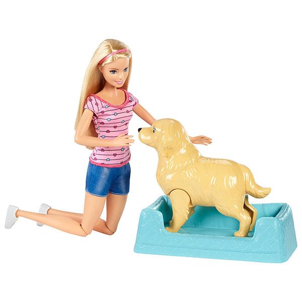 Barbie FDD43 Кукла и собака с новорожденными щенками