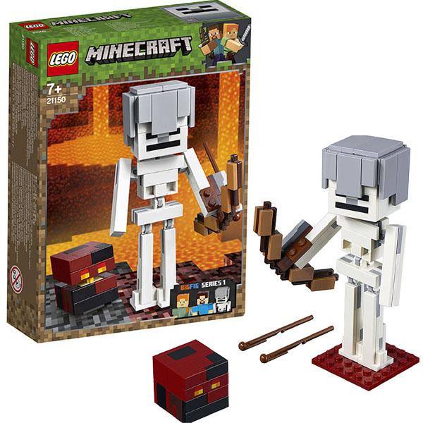 цена на LEGO Minecraft 21150 Конструктор ЛЕГО Майнкрафт Большие фигурки Minecraft, скелет с кубом магмы