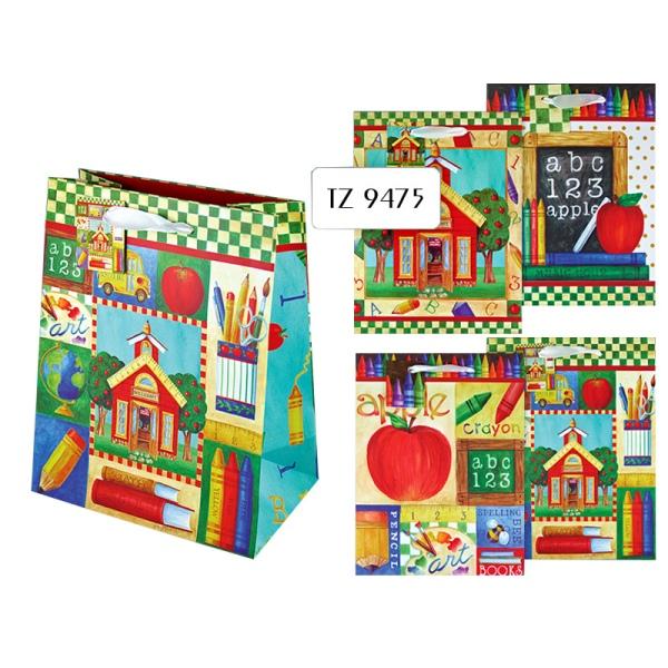 Пакет подарочный бумажный SCHOOL TZ9476 (29*21*10 см), 4 дизайна (в ассортименте) пакет подарочный бумажный garden tz6617 32 5 26 11 5 см в ассортименте