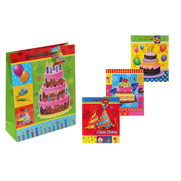 Пакет подарочный бумажный S1516 С днем рождения, 6 видов (45x32x10 см) (в ассортименте) пакет подарочный бумажный голография 11 1 13 7 6 2 см в ассортименте