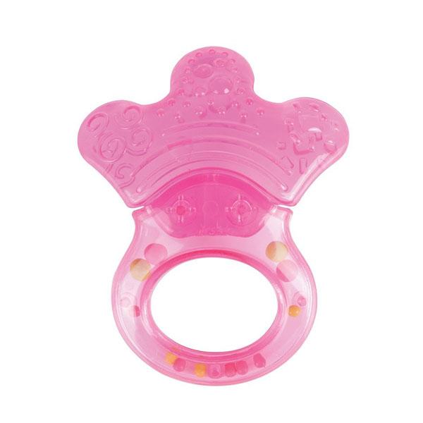 Canpol babies 250930489 Прорезыватель водный с погремушкой, розовая лапка, 0+