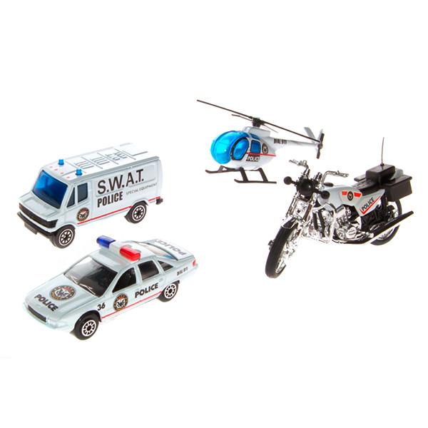 Welly 98630-4A Велли Игровой набор Служба спасения - полиция 4 шт welly welly набор машинок служба спасения скорая помощь 4 штуки