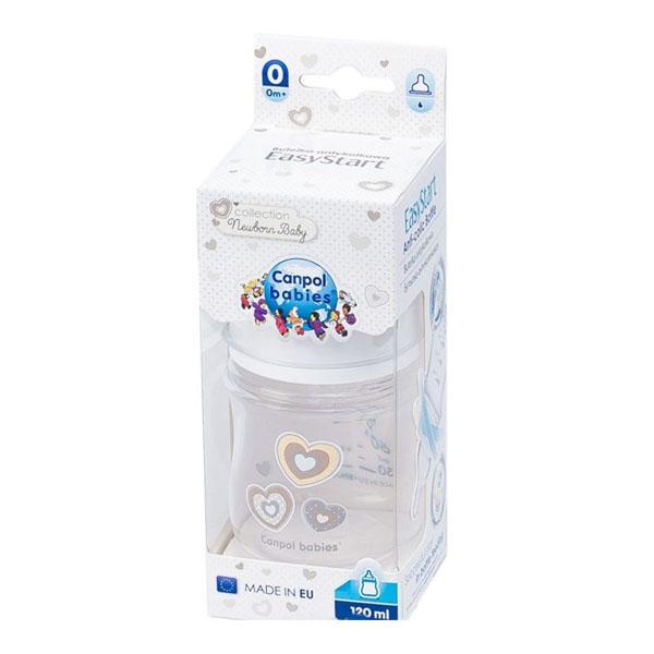 Canpol babies 250930094 Бутылочка PP EasyStart с широким горлышком антиколиковая, белая, 120 мл,0+