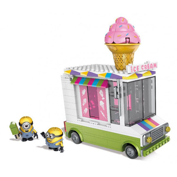 Mattel Mega Bloks DPG73 Мега Блокс Миньоны: фургончик с мороженым mymei 1 комплект 12шт набор гадкий я 2 миньоны рисунок игрушки в розницу 96408