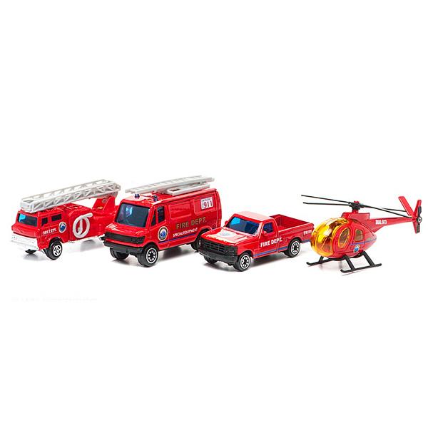 Welly 98630-4C Велли Игровой набор Служба спасения - пожарная команда 4 шт welly welly набор машинок служба спасения скорая помощь 4 штуки