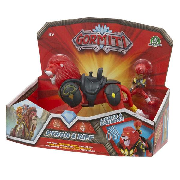 Gormiti GRM05000-2 Фигурка героя в комплекте с чудовищем - Пайрон и Рифф (с подсветкой и звуком)