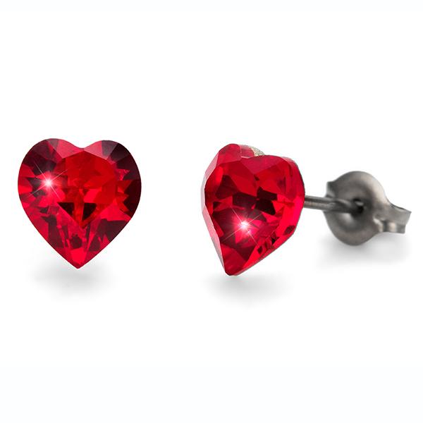 Oliver Weber S24008-227 Серьги из металла Oliver Weber Сердечки (красные)