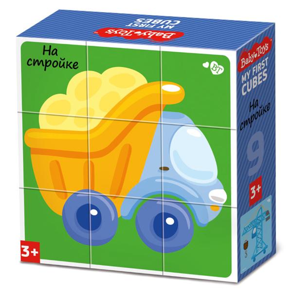 BABY TOYS TD03533 Кубики На стройке (без обклейки), 9 шт