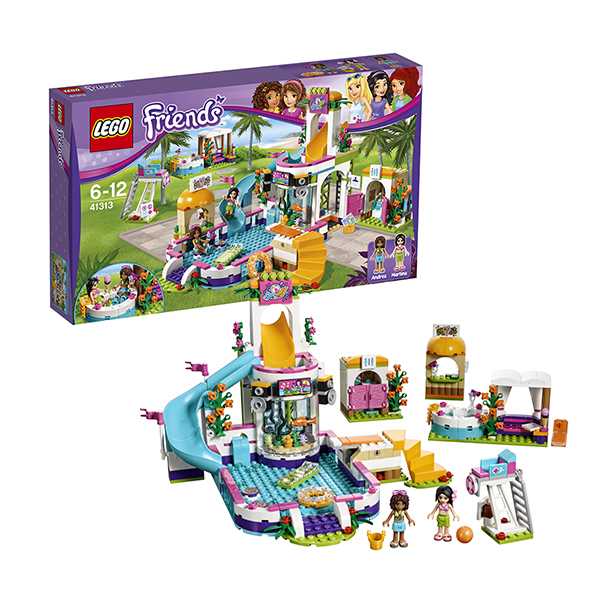 Lego Friends 41313 Конструктор Лего Подружки Летний бассейн 489pcs friends heartlake high performance school stephanie 10166 model building blocks princess toys bricks compatible with lego