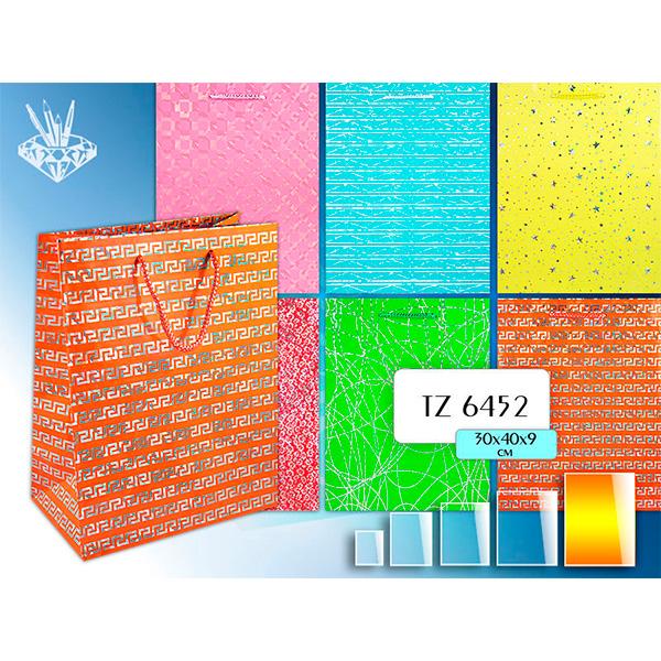 Пакет подарочный бумажный TZ6452 голография Блеск, 30*40*9 см 6 дизайнов ассорти NEW пакет подарочный бумажный tz9454 ракушка 32 5 26 11 5 см 6 дизайнов ассорти new