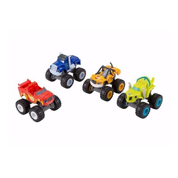 Mattel Blaze DRG62 Вспыш и друзья: упаковка из 4-х пластиковых машинок
