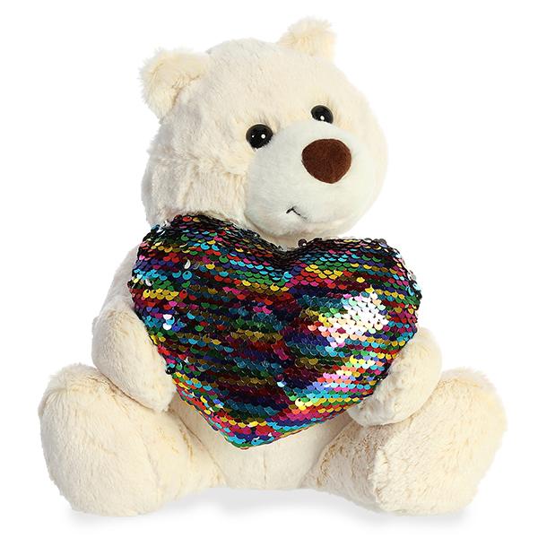 Aurora 190114B Аврора Медведь Большое сердце кремовый 30 см.