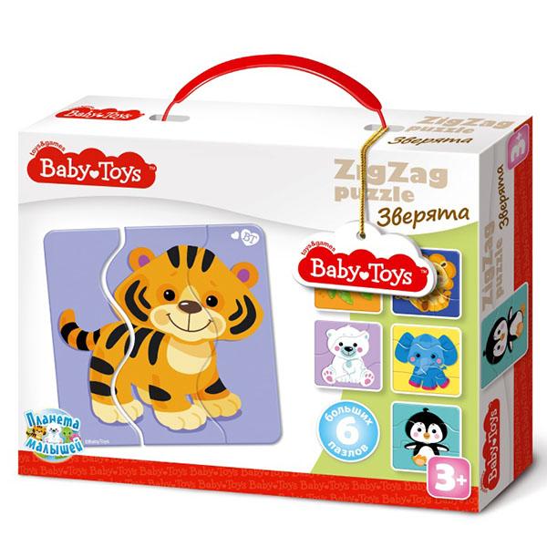 BABY TOYS TD02501 Пазлы макси ЗИГЗАГ Зверята, (18 эл.) baby toys парные макси пазлы baby toys чей малыш 20 элементов