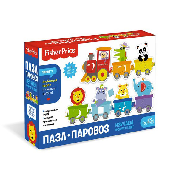 Origami OR05148 Fisher Price Пазл Паровозик, 7 элементов пазл alatoys паровозик пзл1811