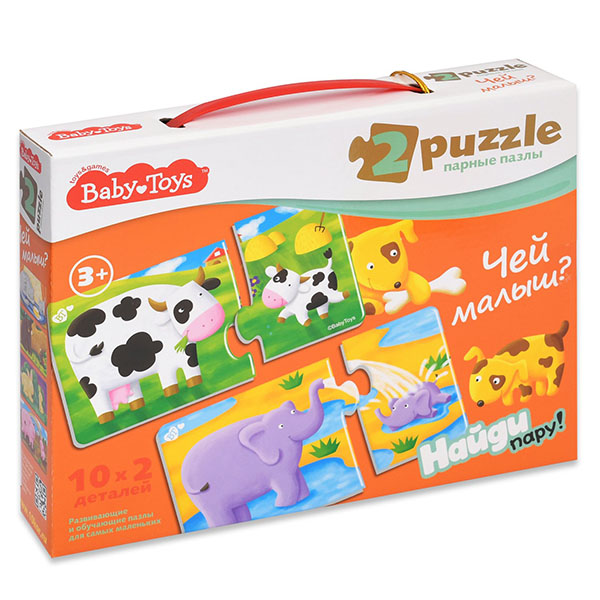 BABY TOYS TD02514 Пазлы макси парные Чей малыш?, (20 эл.) baby toys парные макси пазлы baby toys чей малыш 20 элементов
