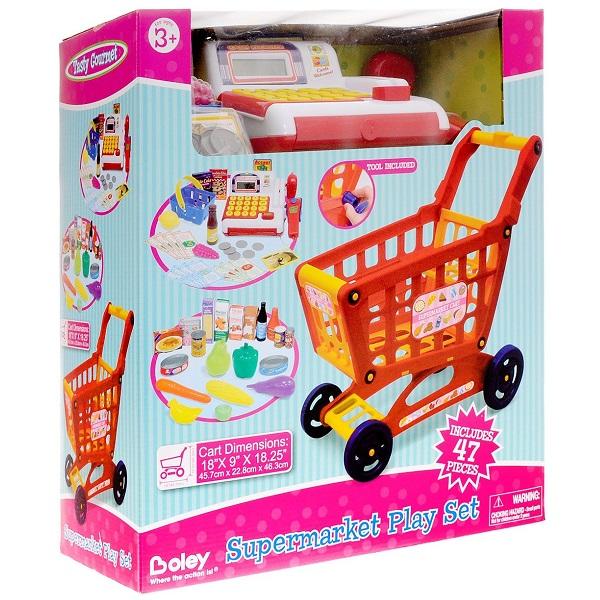 Boley 43532A Продуктовая тележка с кассой и набором продуктов, 47 предмета в наборе
