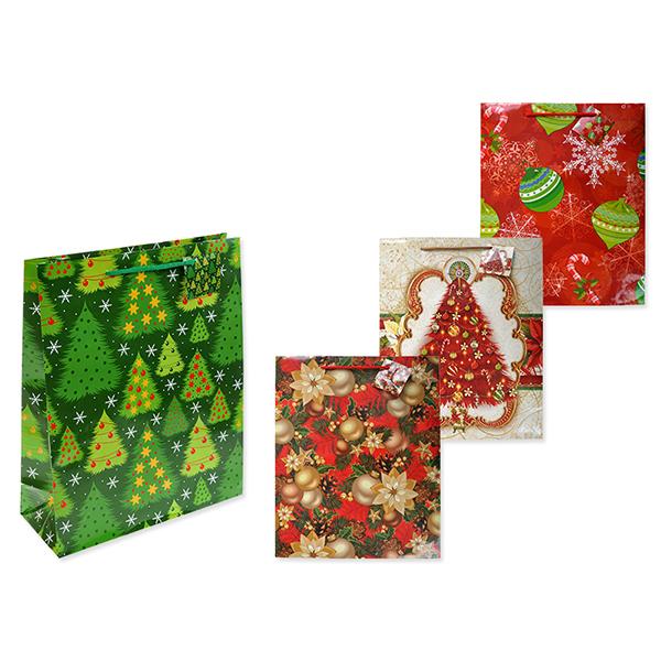 Пакет подарочный бумажный, НОВОГОДНИЙ S1526 32х26х10 см, 4 вида (в ассортименте) пакет феникс бумажный автомобили 26 32 4 12 7см