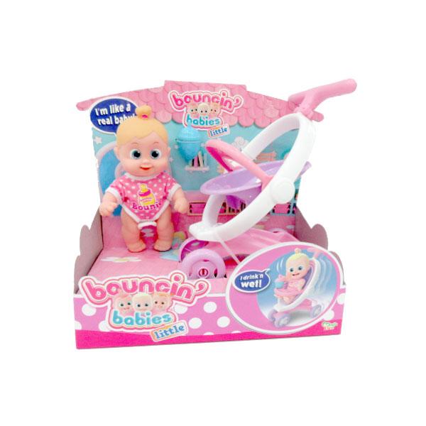 Bouncin' Babies 803004 Кукла Бони с коляской, 16 см