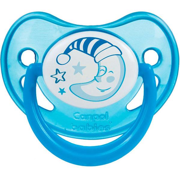 Canpol babies 250930231 Пустышка анатомическая силиконовая, Night Dreams, синяя, 0-6м