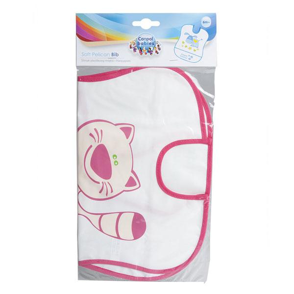 Canpol babies 250930229 Нагрудник пластиковый мягкий, розовый котенок