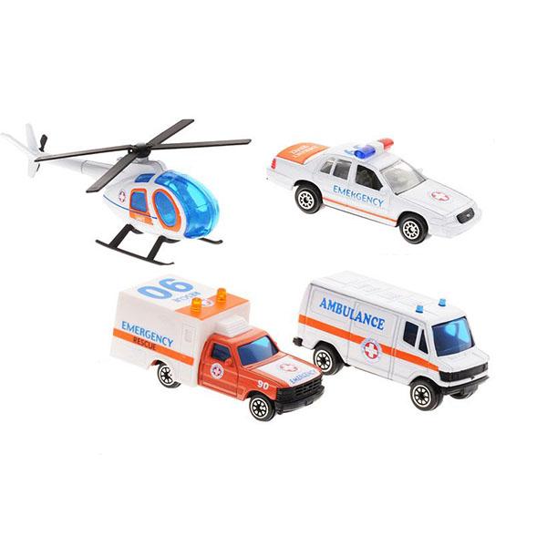 Welly 98630-4B Велли Игровой набор Служба спасения - скорая помощь 4 шт welly welly набор машинок служба спасения скорая помощь 4 штуки
