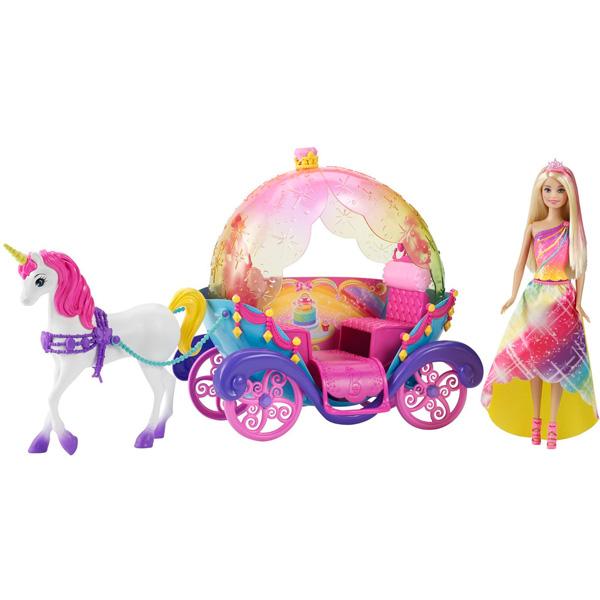 Barbie DPY38 Радужная карета и кукла