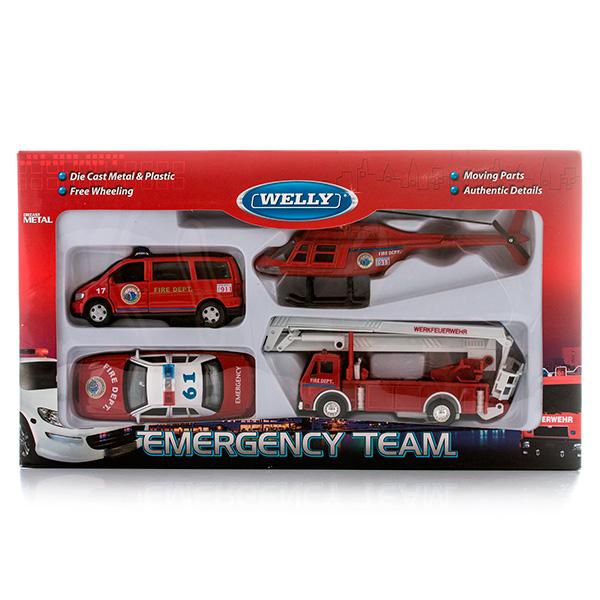 """Welly 98160-4C Велли Игровой набор машин """"Пожарная служба"""" 4 шт"""