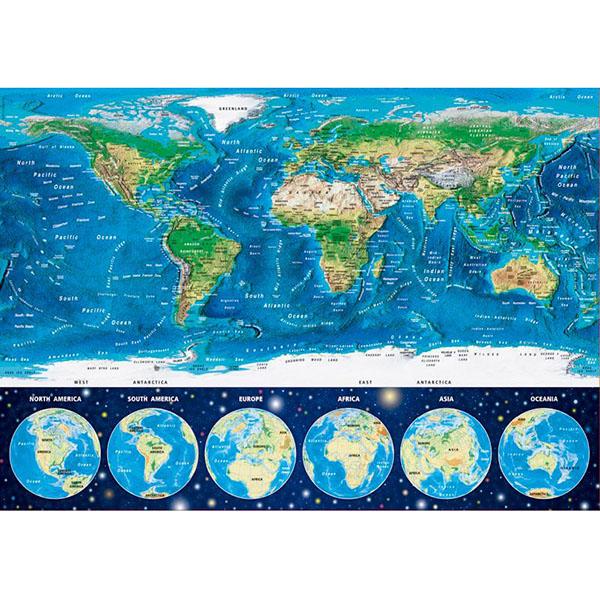 Educa 16760 Пазл 1000 деталей Неоновая карта мира пазлы uncle milton пазл в жестяной коробке с металлизированным эффектом зебра nat geo wild games