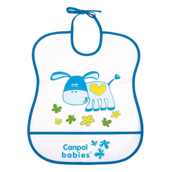 Canpol babies 250930226 Нагрудник пластиковый мягкий, синий ослик