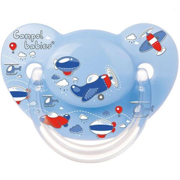 Canpol babies 250930269 Пустышка анатомическая силиконовая, Machines, голубая, 18м+
