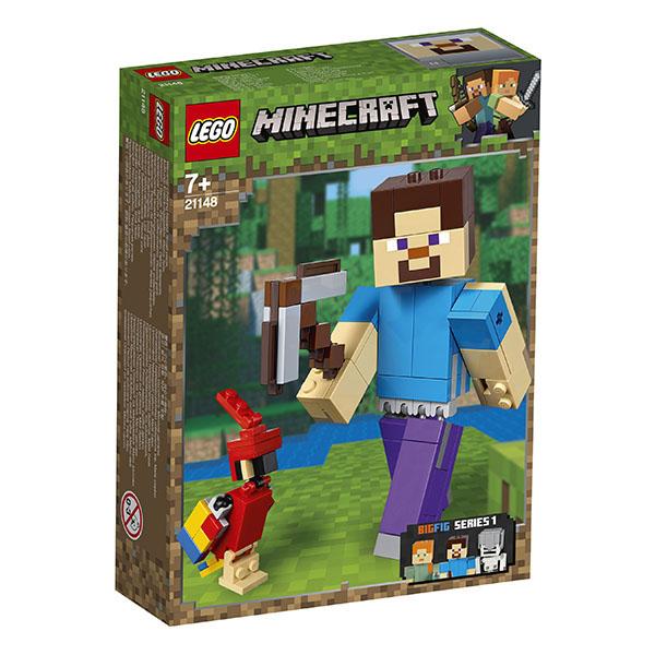 LEGO Minecraft 21148 Конструктор ЛЕГО Майнкрафт Большие фигурки Minecraft, Стив с попугаем