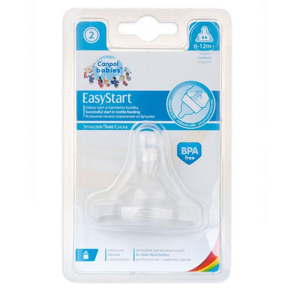Canpol babies 210205029 Соска для бутылочек с широким горлом EasyStart силикон., средний поток,1шт