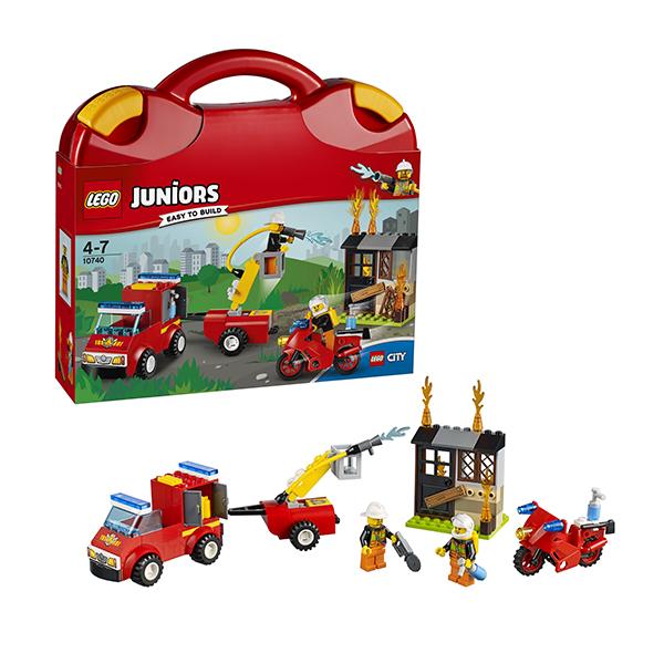 Lego Juniors 10740 Лего Джуниорс Чемоданчик Пожарная команда lego juniors 10739 лего джуниорс ниндзяго нападение акулы