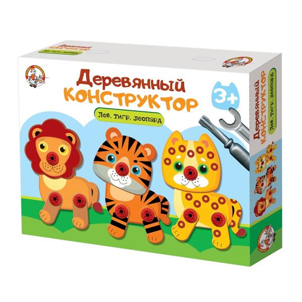Десятое Королевство TD02858 Конструктор деревянный Лев, тигр, леопард деревянный конструктор куби дуби дворец алладина kd00012