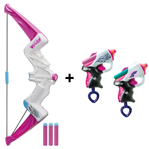 "Hasbro Nerf B8213N N-Rebelle Лук Яркое приключение + Мини-бластеры ""Сладкая парочка""  лук hasbro nerf n rebelle яркое приключение"