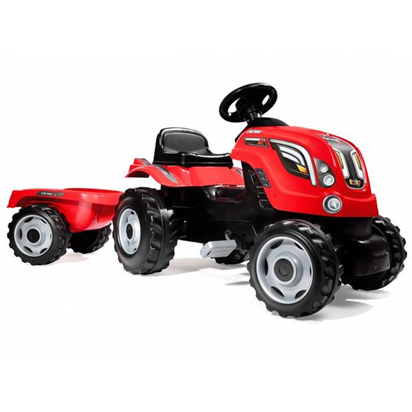 Smoby 710108 Трактор педальный XL с прицепом, красный