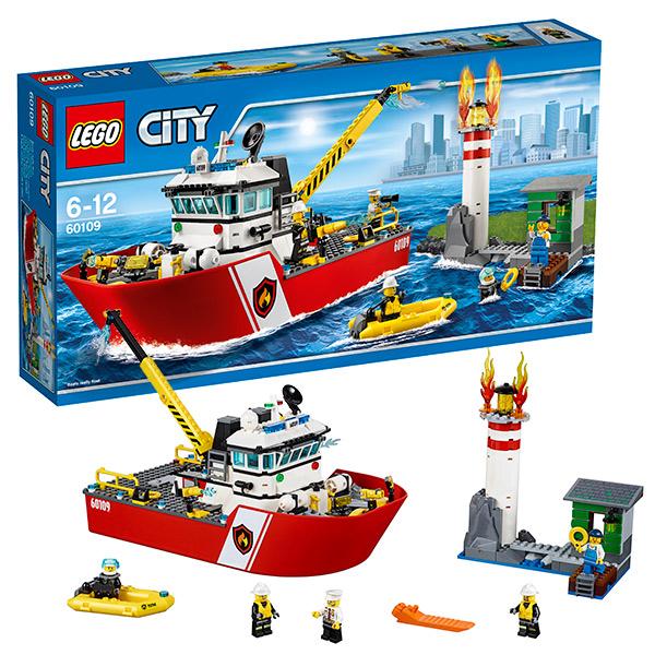 Lego City 60109 Лего Город Пожарный катер lego city 60107 пожарный автомобиль с лестницей