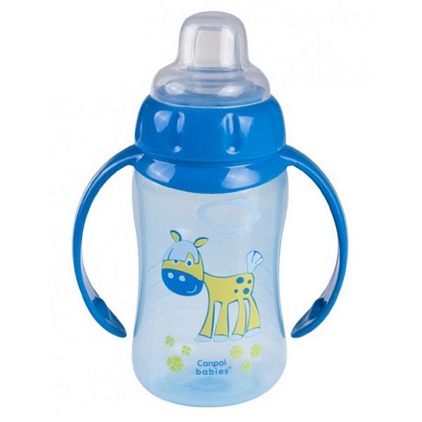 Canpol babies 250930157 Поильник обучающий с силиконовым носиком и ручками, синий, 320 мл. 6м+