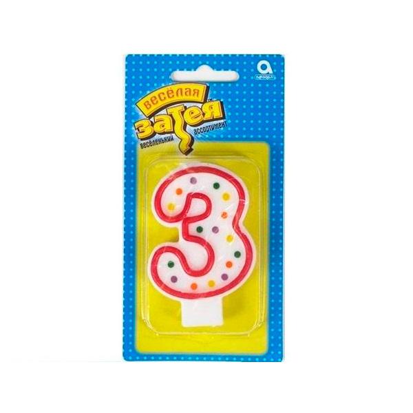 Веселая Затея 1502-0141 Свеча- цифра 3, 7,6 см/A веселая затея 1502 0135 свеча цифра 0 7 6 см a