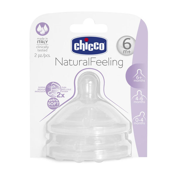 Chicco 310204080 Соска Natural Feeling, силиконовая с флексорами,быстрый поток, 2шт, 6м+
