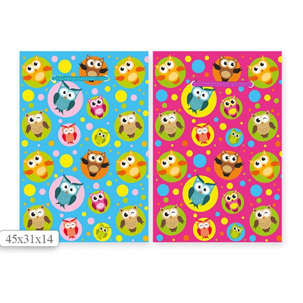 Пакет подарочный S1505 СОВЫ 45х31х14 см, в ассортименте 2 цвета пакет подарочный бумажный s2656 с днём рождения 45х31х14 см 3 расцветки в ассортименте