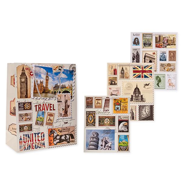 Пакет подарочный бумажный S1033 МАРКИ 32x26x13 см, 4 вида (в ассортименте) пакет подарочный бумажный garden tz6617 32 5 26 11 5 см в ассортименте