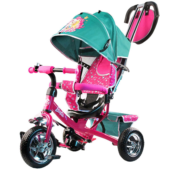 BARBIE HB7TS Велосипед-коляска Barbie, колеса 10и 8,с руч.управ.,наклонная спинка ,бирюзовый