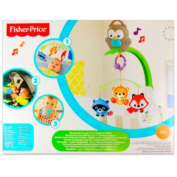 """Mattel Fisher-Price CDM84 Музыкальный мобиль 3-в-1 """"Лесные друзья"""""""
