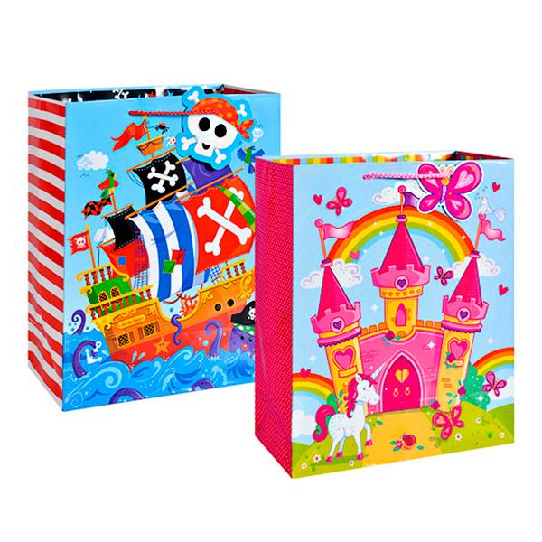 Пакет подарочный бумажный Замок/Пиратский корабль (в ассортименте) TZ14033 (32*26*12 см) пакет подарочный арт и дизайн вояж цвет мультиколор 36 х 26 х 11 5 см 3092217