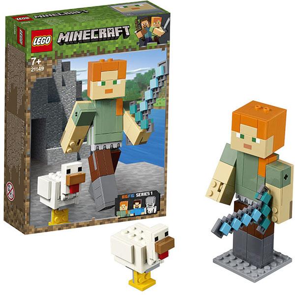 цена на LEGO Minecraft 21149 Конструктор ЛЕГО Майнкрафт Большие фигурки Minecraft, Алекс с цыплёнком